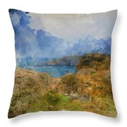 Digital Watercolor Painting Of Lizard Point And Lighthouse, The  Throw Pillow