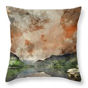 Digital Watercolor Painting Of Llyn Nantlle At Sunrise Looking T Throw Pillow