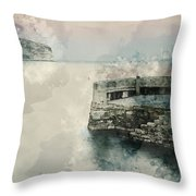 Digital Watercolor Painting Of Peaceful Landscape Of Stone Jetty Throw Pillow