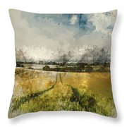 Digital Watercolor Painting Of Stunning Countryside Landscape Wh Throw Pillow