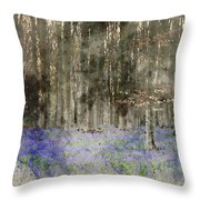 Digital Watercolor Painting Of Stunning Landscape Of Bluebell Fo Throw Pillow