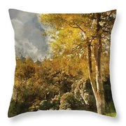 Digital Watercolor Painting Of Stunning Vibrant Autumn Forest La Throw Pillow