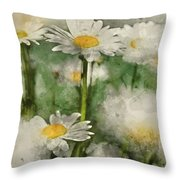 Digital Watercolor Painting Of Wild Daisy Flowers In Wildflower  Throw Pillow