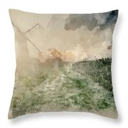 Digital Watercolor Painting Of Windmill In Stunning Landscape On Throw Pillow