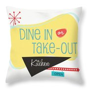 Dine In Kitchen - Art By Linda Woods Throw Pillow