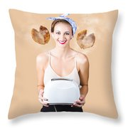 Diner Pinup Girl Serving Breakfast Love Throw Pillow