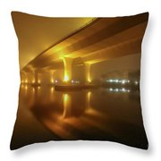 Disappearing Bridge Throw Pillow by Tom Claud