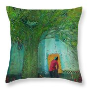 Discovery An Abstract Painting By Laura Hunt Throw Pillow