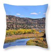Distant Boat On The San Juan River In Fall Throw Pillow