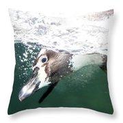 Dive Penguin Dive Throw Pillow