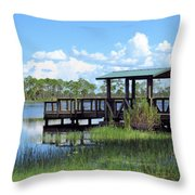 Dock On The River Throw Pillow