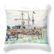 Docks At Saint Malo - Digital Remastered Edition Throw Pillow