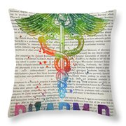 Doctor Of Pharmacy Gift Idea With Caduceus Illustration 03 Throw Pillow