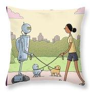 Dog Walking 2.0 Throw Pillow