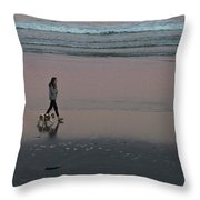 Dog Walking Along The Beach Throw Pillow