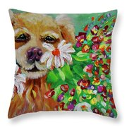 Dog With Flowers Throw Pillow by Jacqueline Athmann