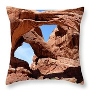 Double Arch In Utah Park During Summer Time  Throw Pillow