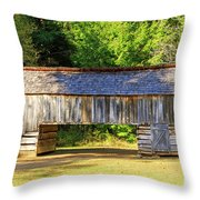 Double Crib Barn In Cades Cove In Smoky Mountains National Park Throw Pillow