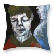 Double Portrait On Black Throw Pillow