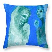 Double Portrait On Blue Sky Throw Pillow