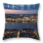 Downtown Boston At Night With Charkes River In The Middle Throw Pillow