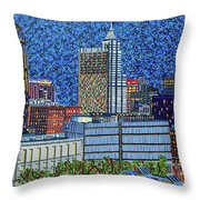 Downtown Raleigh - City At Night Throw Pillow
