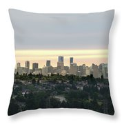 Downtown Sunset Throw Pillow by Juan Contreras