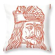 Dracula Or Vlad Tepes, 1491 Woodcut Throw Pillow