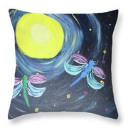 Dragonflies And Moonlight Throw Pillow