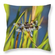 Dragonfly Perched By Pond Throw Pillow