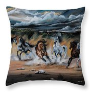 Dream Horse Series 125 - Flat Bottom River Wild Horse Herd Throw Pillow