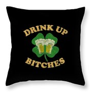 Drink Up Bitches Vintage St Patricks Day Throw Pillow