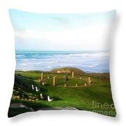 Droskyn Sundial Perranporth Throw Pillow