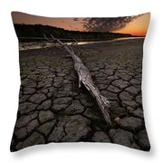 Dry Banks Of Rainy River After Sunset Throw Pillow