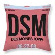 Dsm Des Moines Luggage Tag I Throw Pillow
