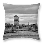 Dublin Ireland - Ha Penny Bridge In Black And White Throw Pillow