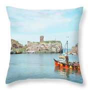 Dunbar Castle Ruins, Harbour And Fishing Boats Throw Pillow