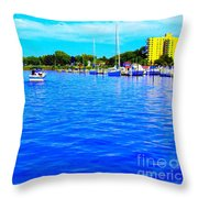 Dunkirk New York Harbor With Neon Effect By Rose Santucisofranko Throw Pillow by Rose Santuci-Sofranko