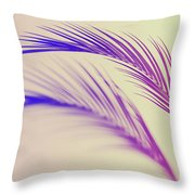 Duotone Background Of Tropical Palm Leaves Throw Pillow