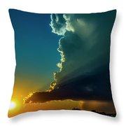 Dying Nebraska Thunderstorms At Sunset 068 Throw Pillow