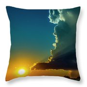 Dying Nebraska Thunderstorms At Sunset 068 Throw Pillow