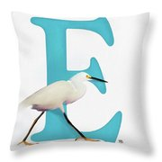 E Is For Egret Throw Pillow