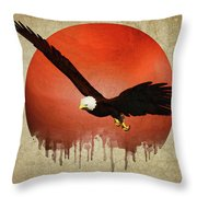 Eagle Flying Throw Pillow by Jan Keteleer