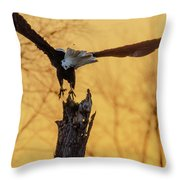 Eagle Flying Off Throw Pillow by Steven Santamour