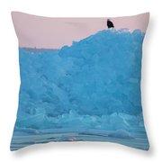 Eagle On Ice Mackinaw City 2261803 Throw Pillow by Rick Veldman