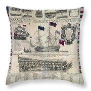 Early 18th Century British Man Of War Ship Diagram Throw Pillow