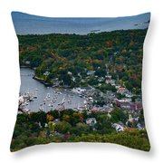 Early Fall Colors Of Camden Maine Throw Pillow by Jeff Folger