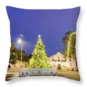 Early Morning Panorama Of Christmas Tree And Lights At The Alamo Mission - San Antonio Texas Throw Pillow