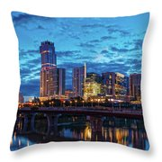 Early Morning Panorama Of Downtown Austin From South Lamar Bridge Over Lady Bird Lake - Austin Texas Throw Pillow