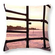 Early Morning Railings Throw Pillow